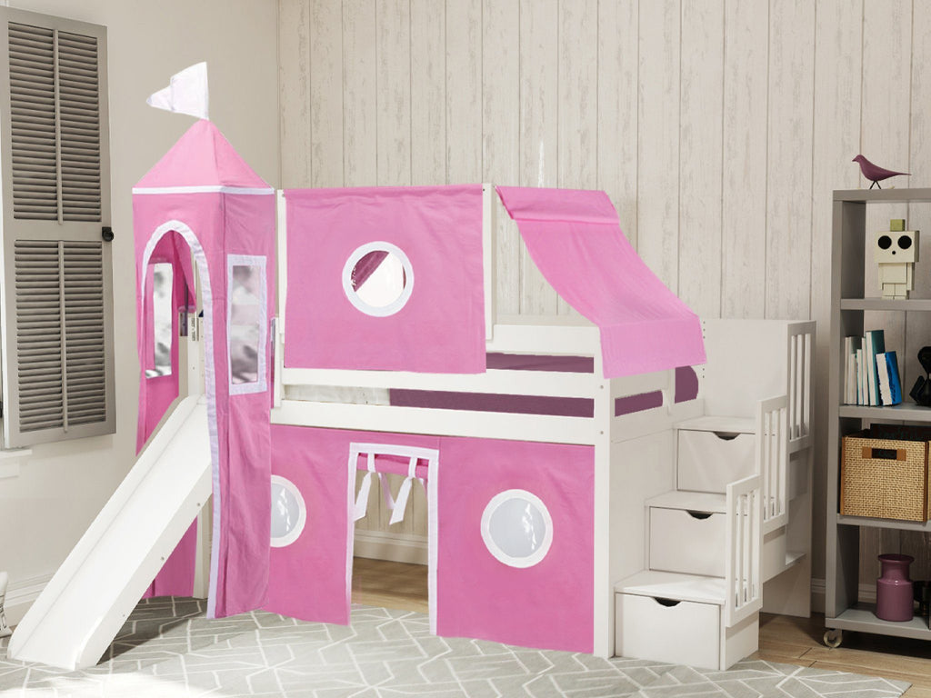 Picture of: Princess Stairway White Loft Bed Pink White Tent 665