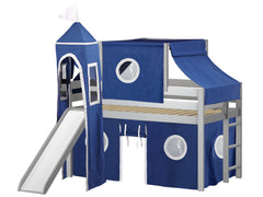 Castle Twin Low Loft Gray End Ladder Bed with a Blue and White Tent and a Slide for only $475