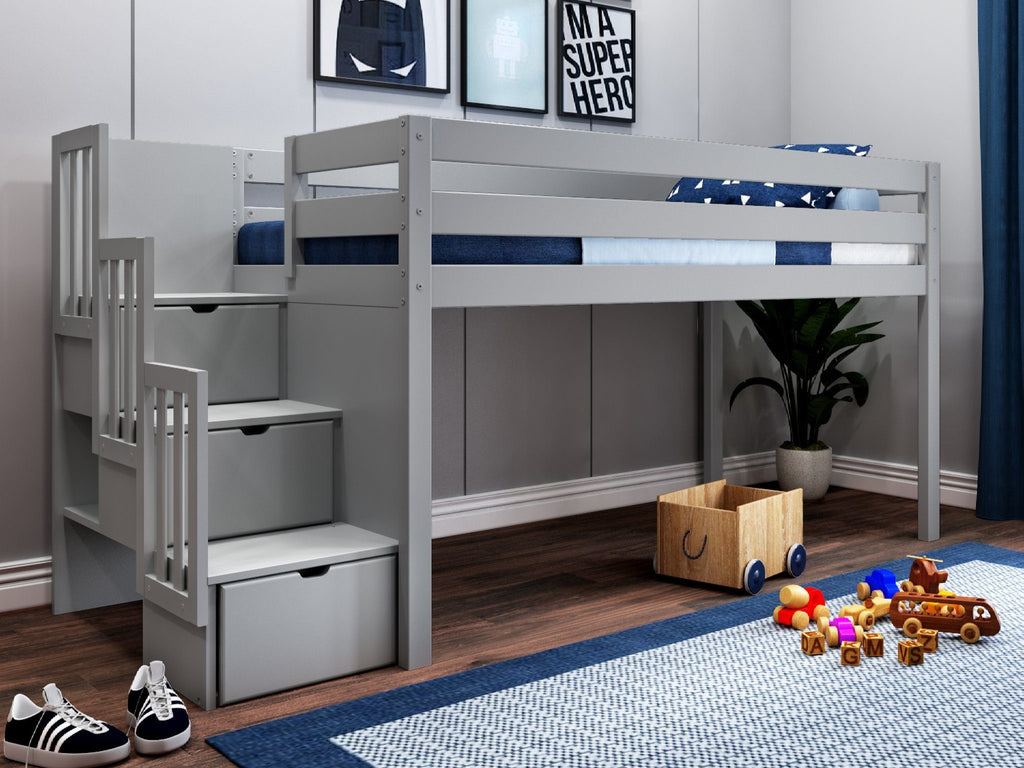 twin low loft bed with storage