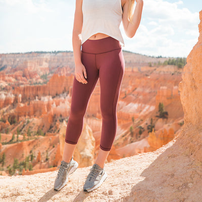 Go Soft High-Waisted Capris, Wine