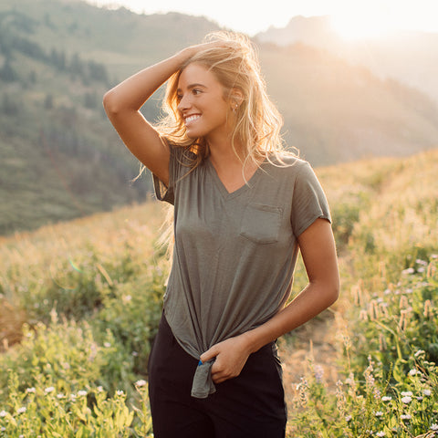 Basic V Neck Tee, Clover