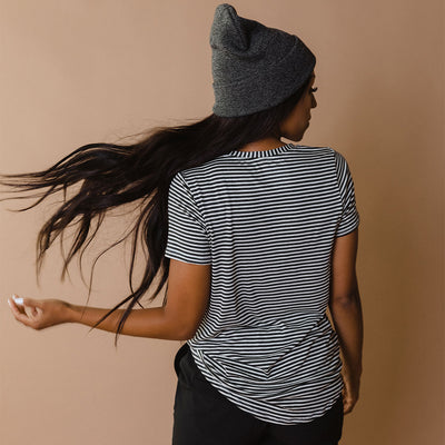 Basic Tee, Classic Charcoal and White Stripe