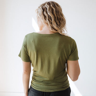 Basic V Neck Tee, Cargo Green