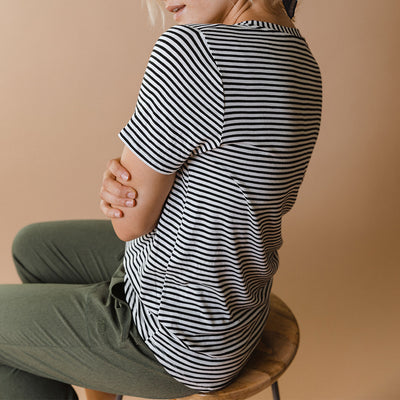 Basic V Neck Tee, Classic Ivory and Black Stripe