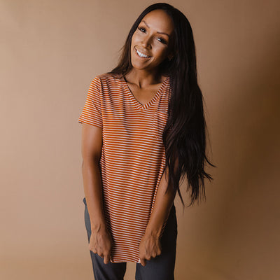 Basic V Neck Tee, Rust Artist Stripe