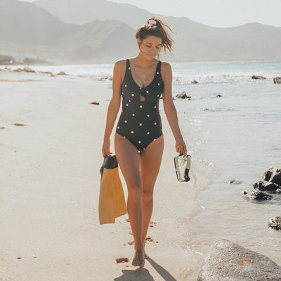 Black Dottie Top Knot One-Piece