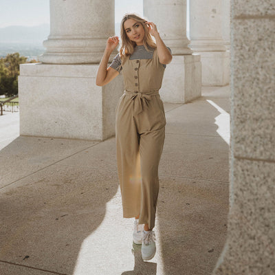 Buttoned Up Overall Jumpsuit, Heather Khaki
