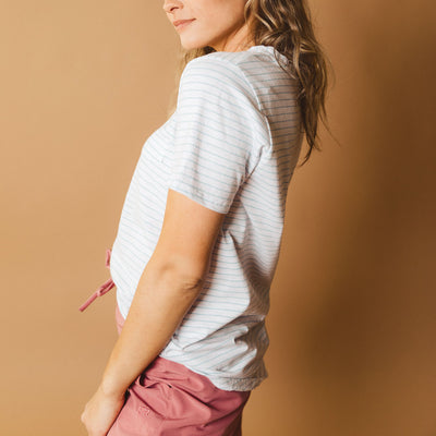 Basic Tee, Light Blue Stripe
