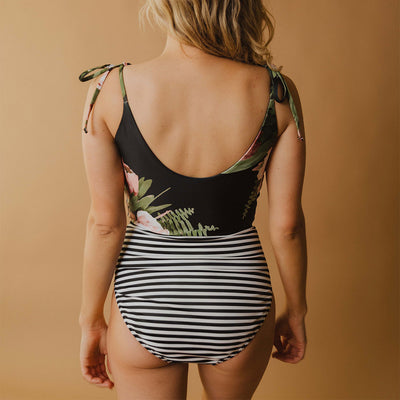 The Rachel One-Piece Black and Midnight Stripe