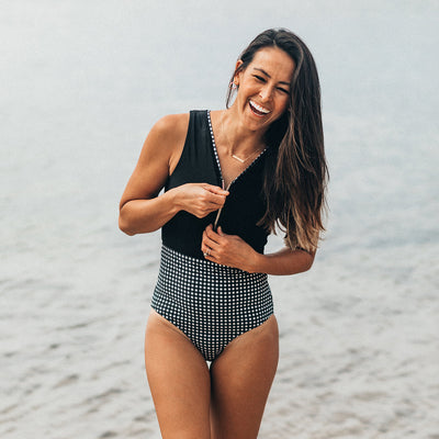 The Bombshell, Black Check One-Piece Suit
