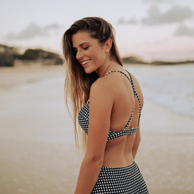 Black Check Pin-Up Swim Top