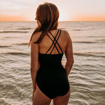 The Eden One-Piece Swimsuit, Matte Black