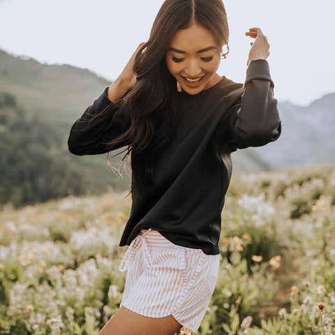 Black Neo Crop Sweatshirt
