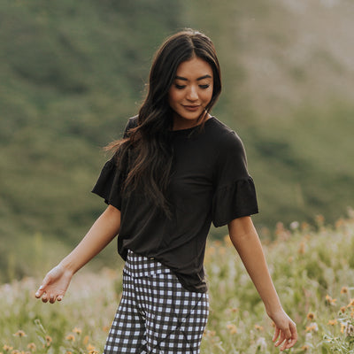 Ruffle Sleeve Tee, Black