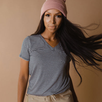 Basic V Neck Tee, Classic Navy Stripe