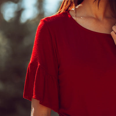 Ruffle Sleeve Tee, Ruby