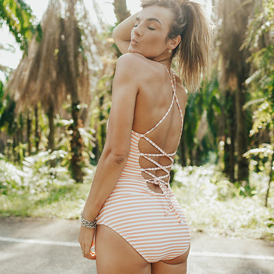 Pink And White stripe one-piece swimsuit