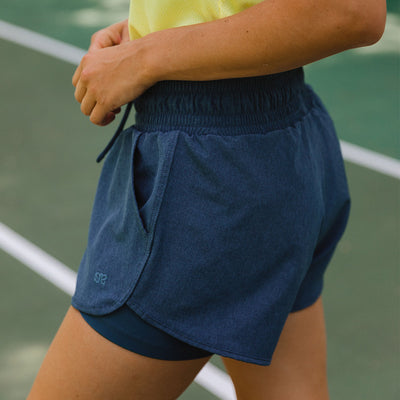 Dark Chambray Lunge Shorts