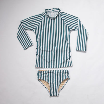 Mini Rash Guard Two-Piece Set, Darling Stripe