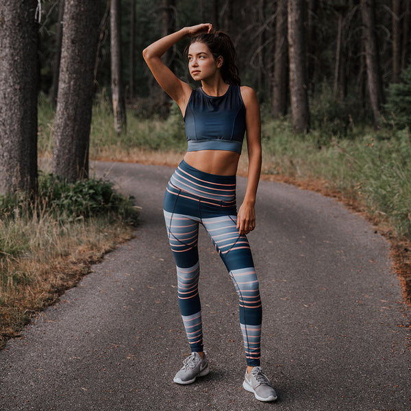 Dawn Stripe High-Waisted Stride Leggings from Albion