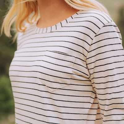 Pencil Stripe Dress with Long Sleeves