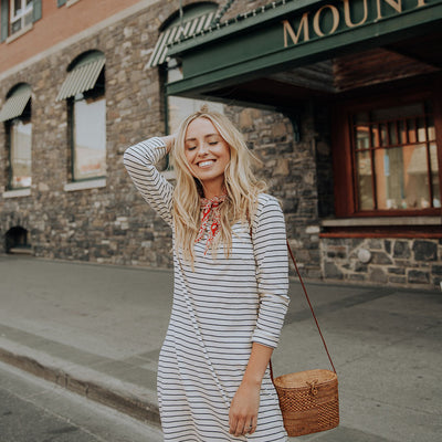 Pencil Stripe Long Sleeve Dress from Albion