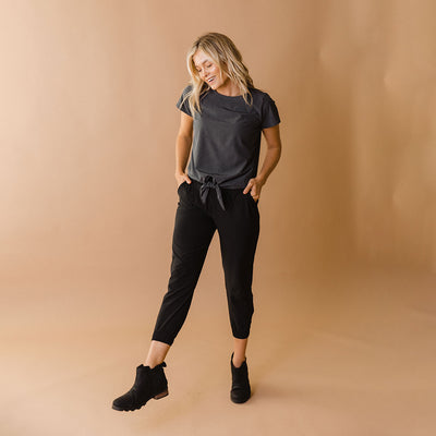 Heather Charcoal Front Tie Top