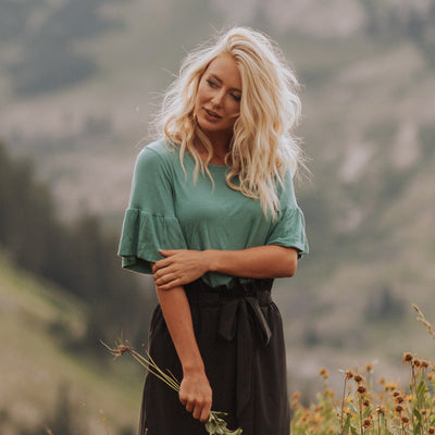 Ruffle Sleeve Tee, Dusty Green