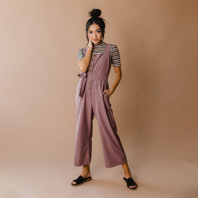 Buttoned Up Overall Jumpsuit, Heather Maroon
