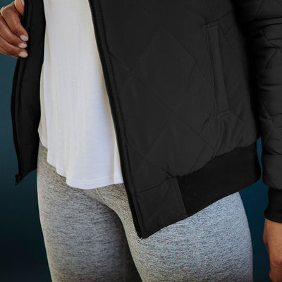 Quilted Bomber, Black