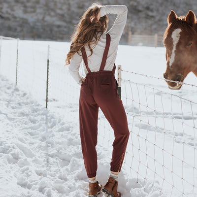 Women's Wine Overall Jumpsuit