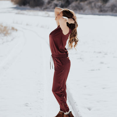 Ladies Wine Jumpsuit