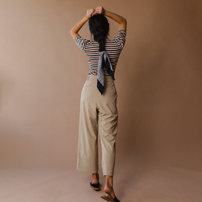 Heather Khaki Bow Belt Pants