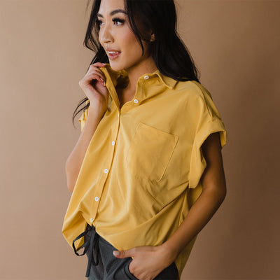 Mustard Button Down Blouse