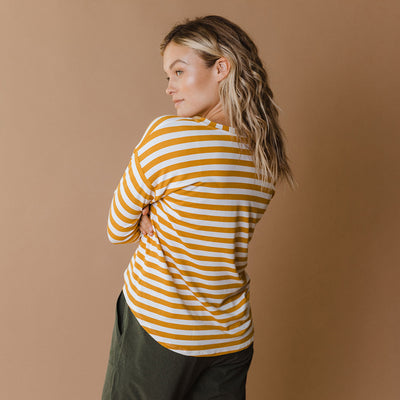 Long Sleeve Tee, Chunky Yellow Stripe
