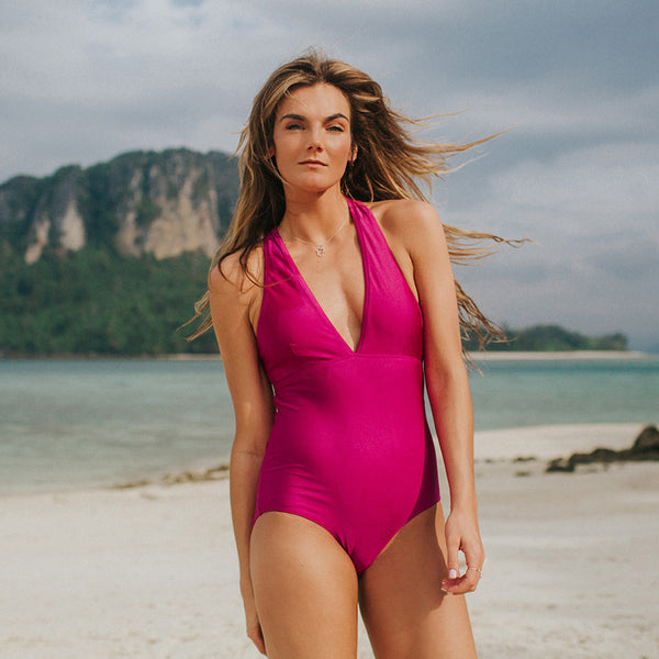 Shell Shock, Magenta V Neck Swimsuit