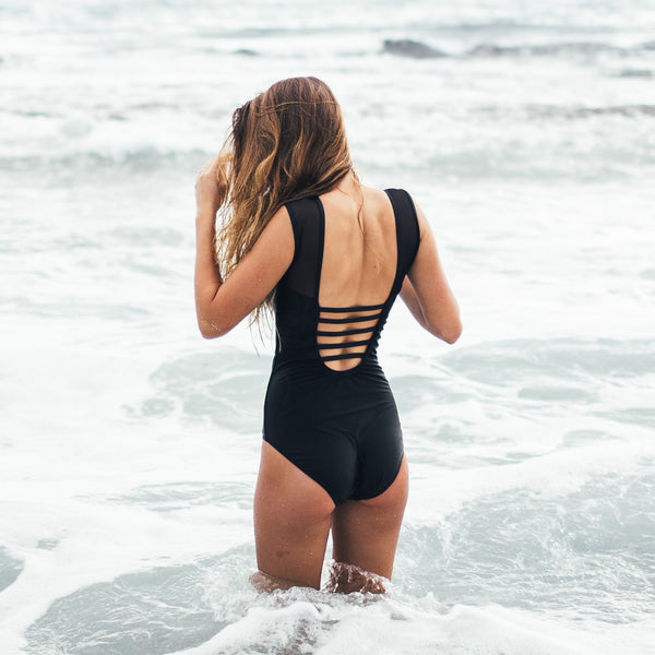 356a7212fca The Maria, Black Mesh One-Piece Swimsuit - Albion