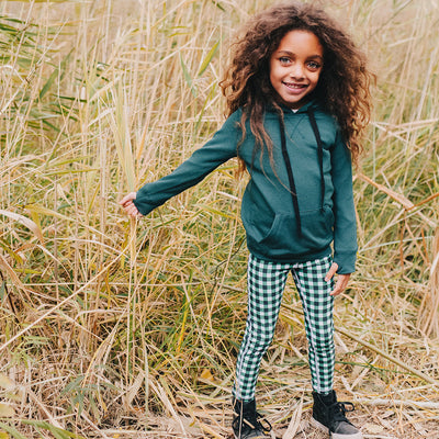 Mini Agnes Gingham Green Leggings Kids