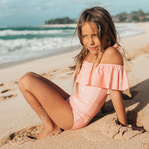 Mini Wave One-Piece, Pink Dottie