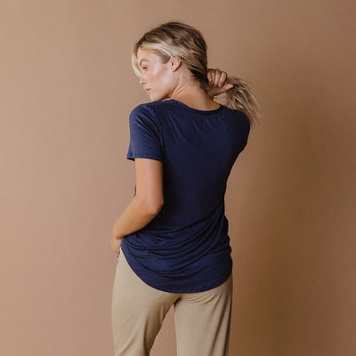 Basic V Neck Tee, Navy