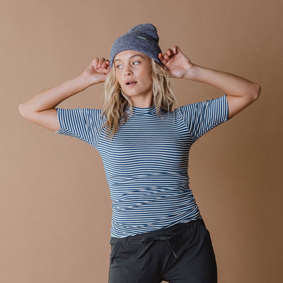 Puff Sleeve Tee, Classic Royal and White Stripe