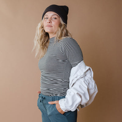 Puff Sleeve Tee, Classic Charcoal and White Stripe