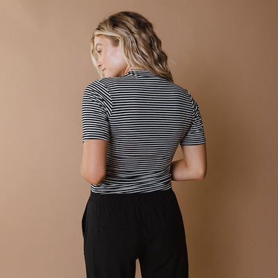 Puff Sleeve Tee, Classic Black and White Stripe