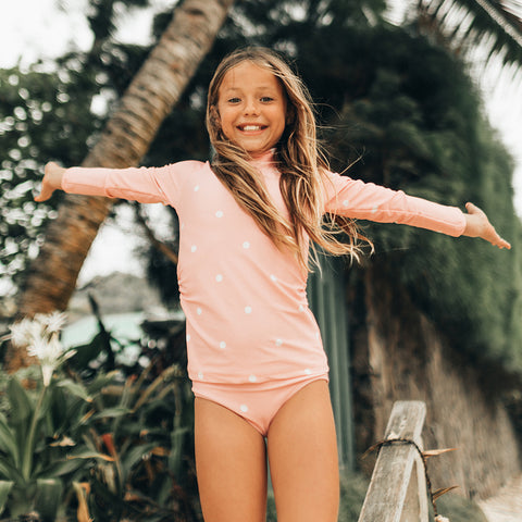 Mini Rash Guard Two-Piece Set, Pink Dottie