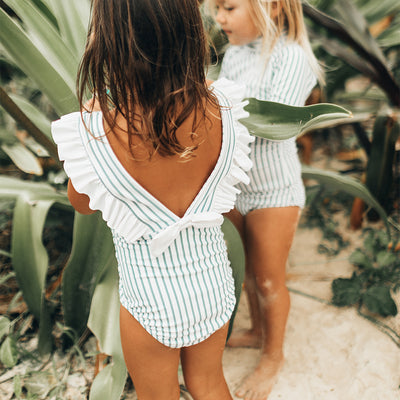 Mini Ruffle One-Piece, Breezy Stripe