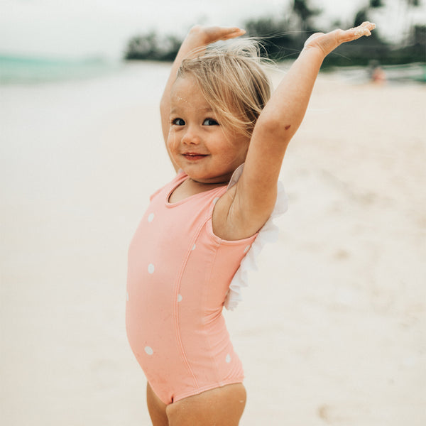 Mini Ruffle One-Piece, Pink Dottie