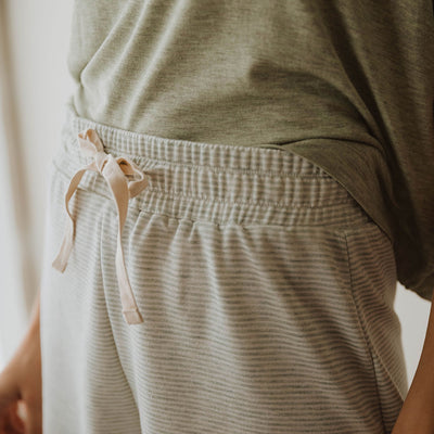Sweet Slumber Shorts, Sage Stripe