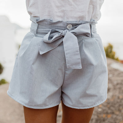 Seersucker Bow Belt Shorts