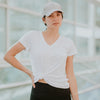 Women's Basic V Neck Tee in White