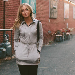 Alta Tunic Hoodie, Heather Grey - Albion - 1